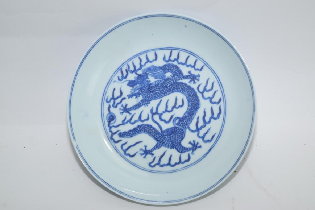 GuangXu Chinese Blue and White Dragon Plate