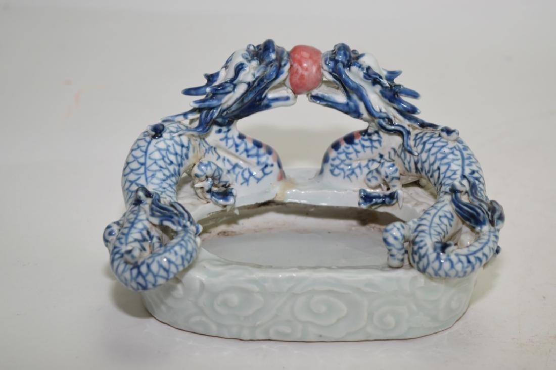 Qing Chinese Blue and White Iron Red Brush Washer