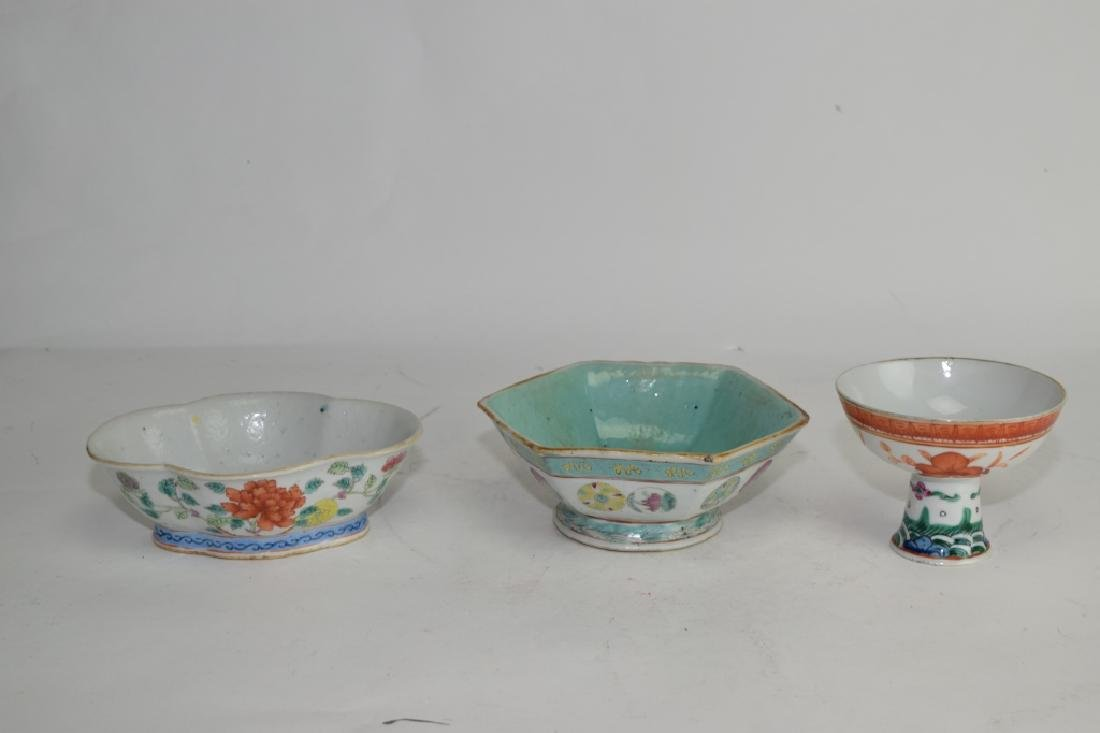 Three Qing Chinese Famille Rose and Verte Bowls
