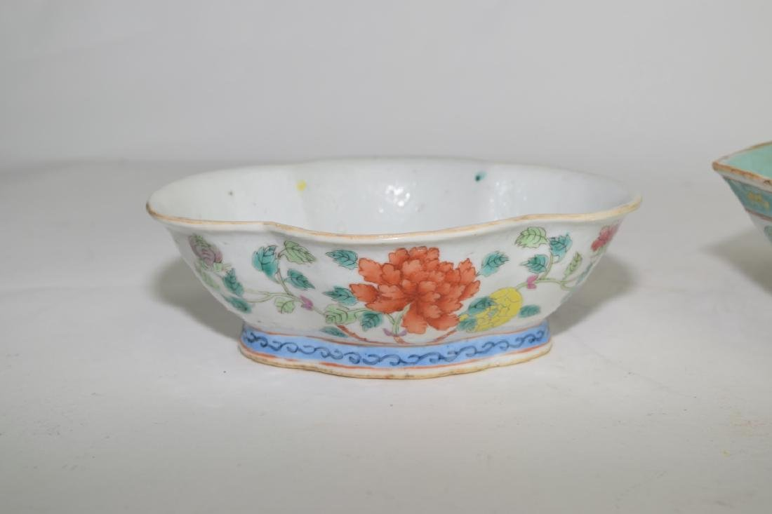 Three Qing Chinese Famille Rose and Verte Bowls - 2