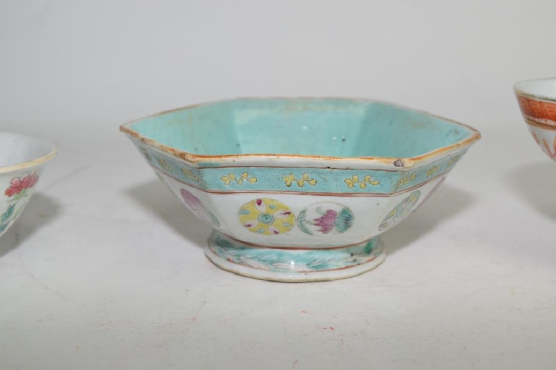 Three Qing Chinese Famille Rose and Verte Bowls - 3