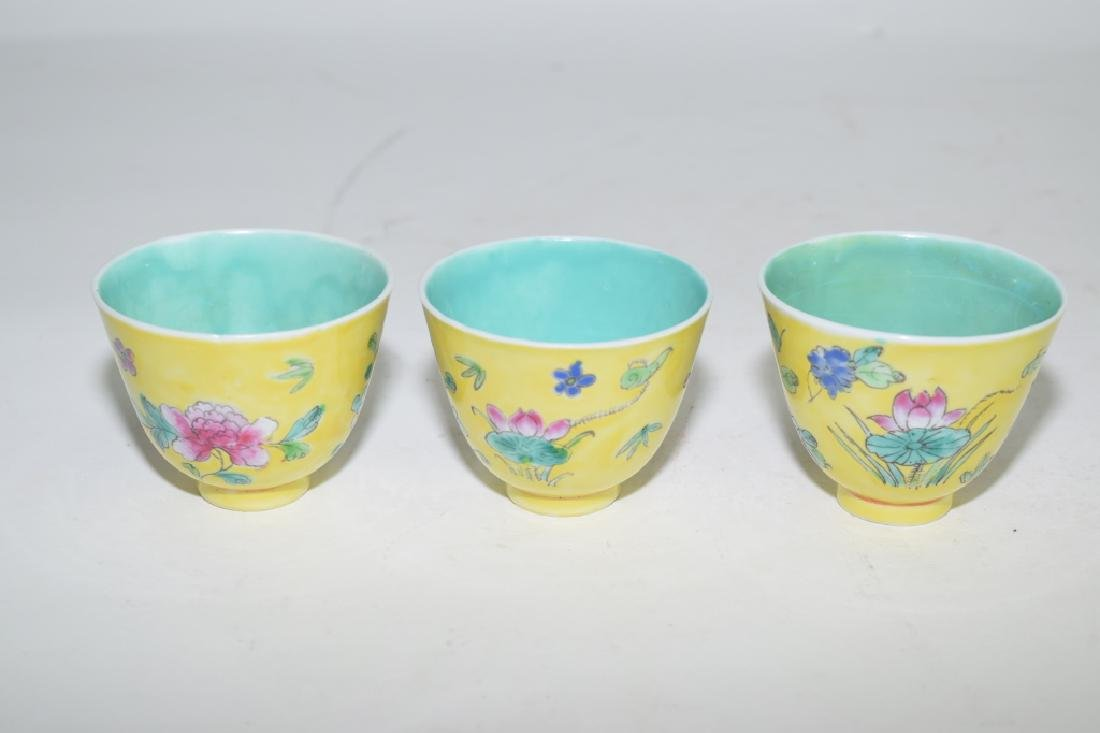 Three Chinese Yellow Glaze Famille Rose Tea Cups