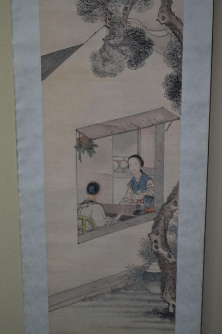 Chinese Watercolor Scroll Painting, after Cao LanTing