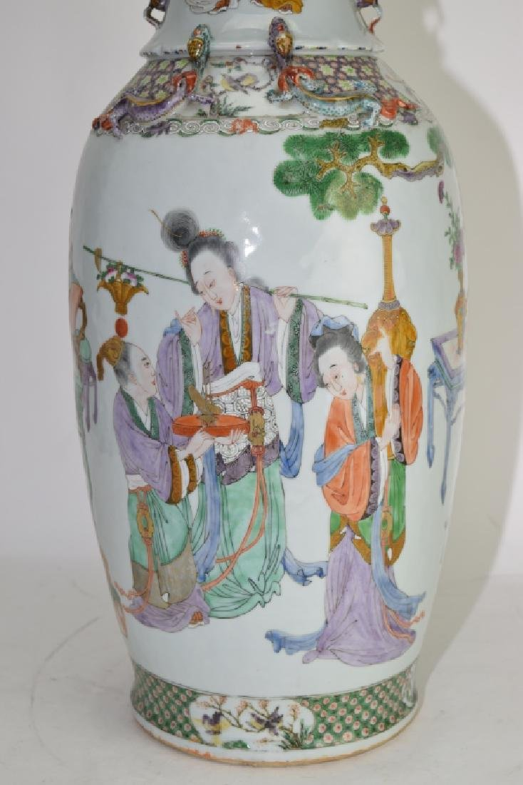 Large Qing Chinese Famille Rose Vase - 6