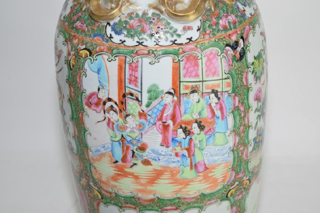Large Qing Chinese Famille Rose Medallion Vase - 3