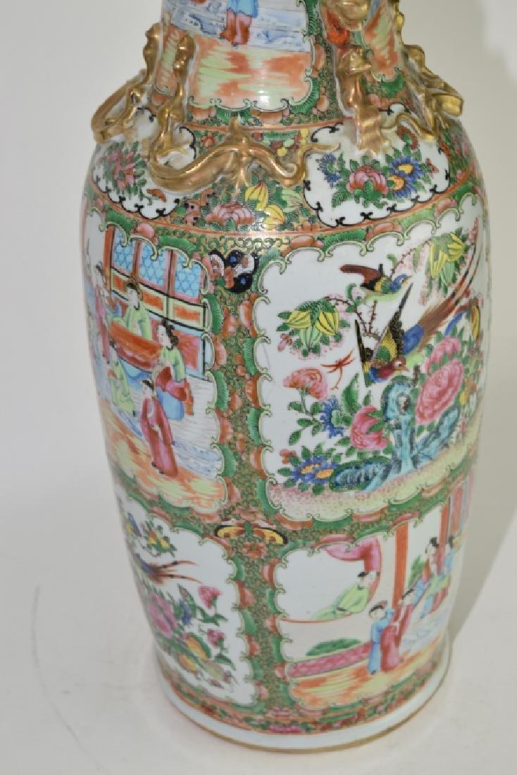 Large Qing Chinese Famille Rose Medallion Vase - 4