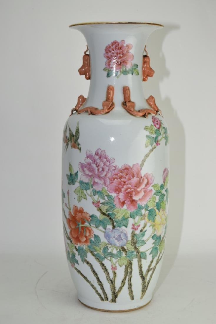 Large Qing Chinese Famille Rose Flower Vase