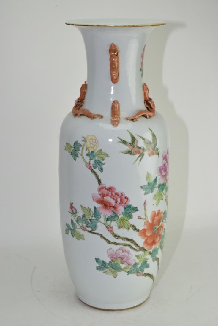Large Qing Chinese Famille Rose Flower Vase - 2