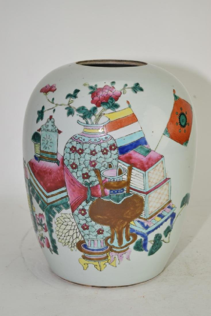 Qing Chinese Famille Rose Study Objects Jar