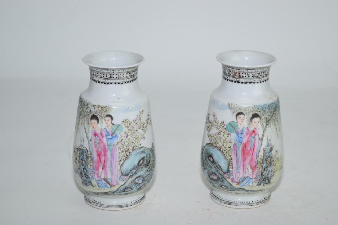 Pair of Chinese Famille Rose Maidens Vases