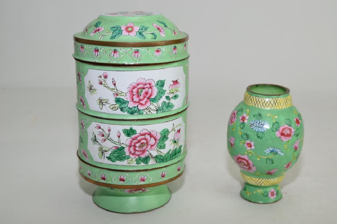 Two Chinese Enamel over Bronze Jars