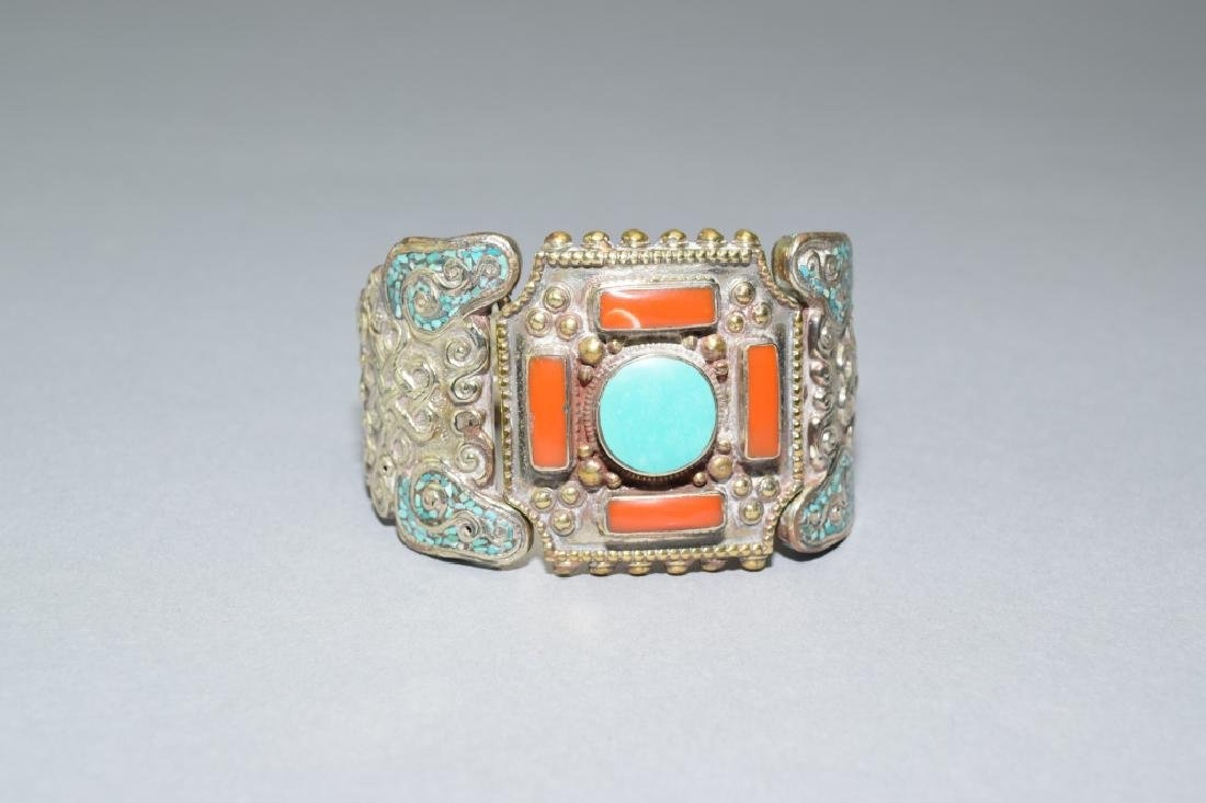 Turquoise and Coral Inlaid Tibetan Silver Bracelet