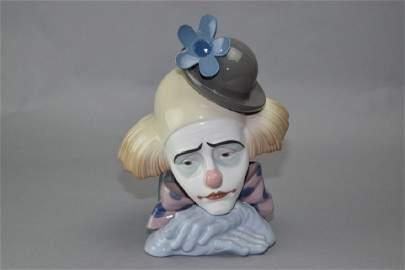 Lladro Sad Clown Bust