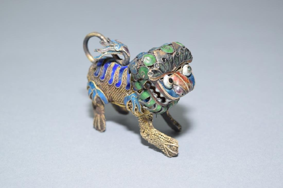 Chinese Enamel over Silver Lion