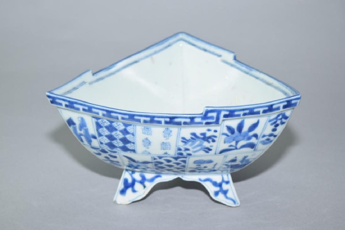 Japanese Blue and White Triangle Bowl