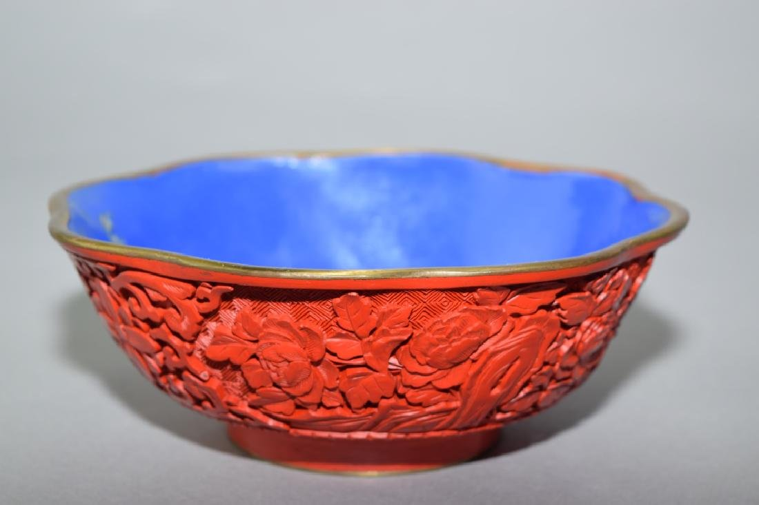 Chinese Cinnabar Carved Bowl