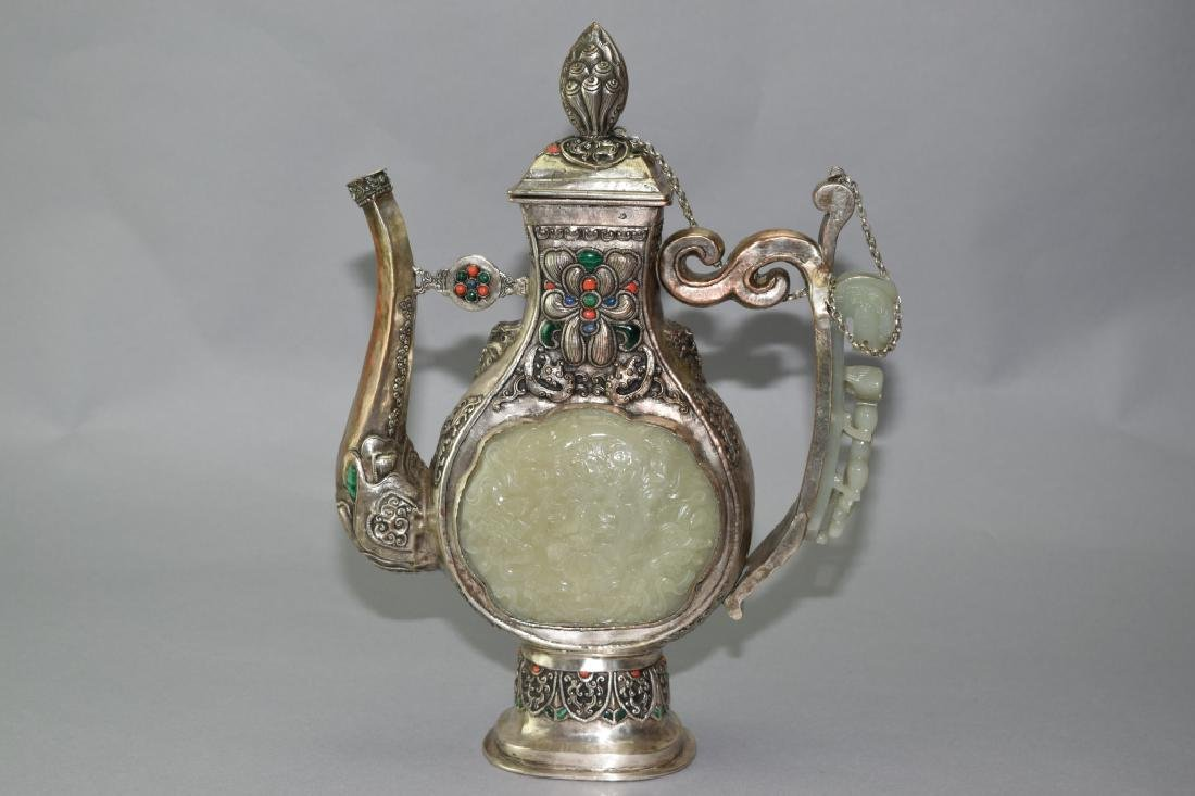 Tibetan Carved Jade Inlaid Wine Pot