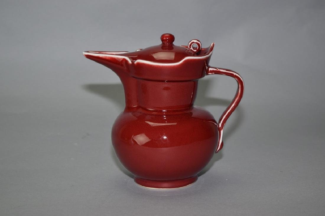Chinese Red Glaze Monk Hat Water Pot