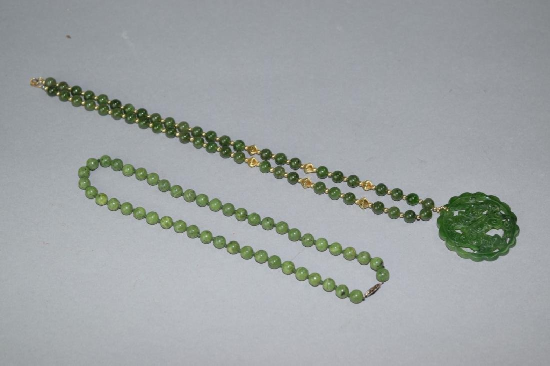 Two Chinese Spinach Jade Bead Necklaces