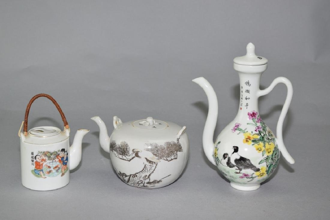 Three Chinese Famille Rose Teapots