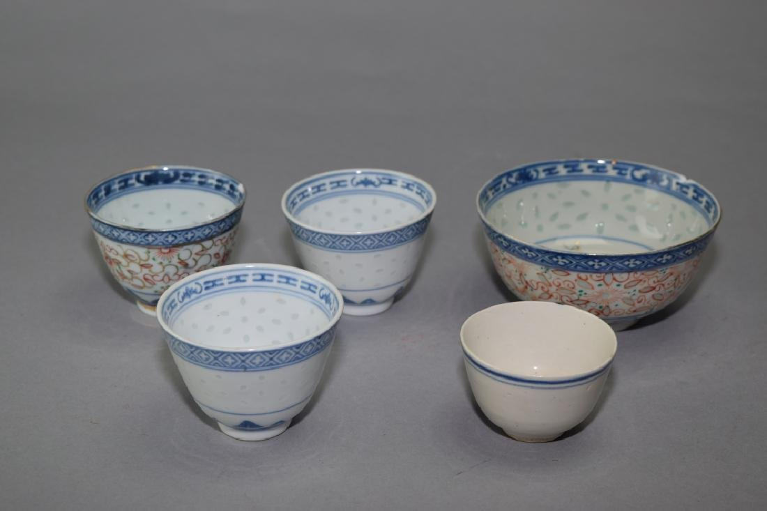 Five Chinese Blue and White Bowls