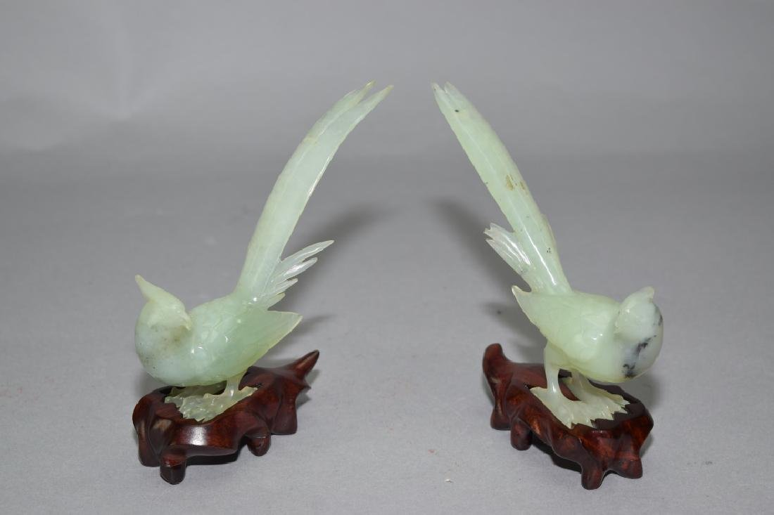 Pair of Chinese Green Jade Carved Birds