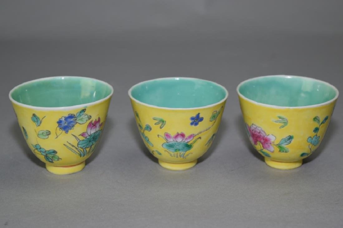 Three Chinese Famille Rose Tea Cups