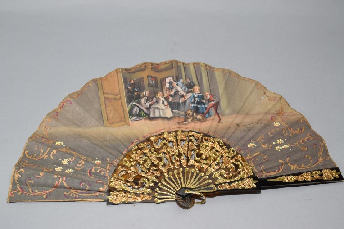 Painted Fan with Gilt