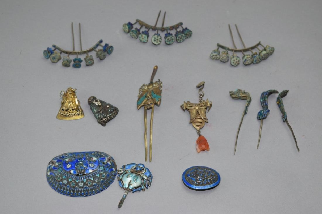 Group of Chinese Enamel over Silver Headdress