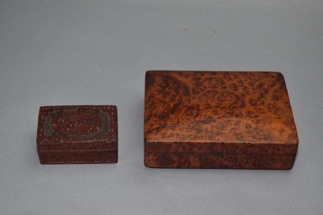 Chinese Cinnabar Carved Box and Wood Carved Box