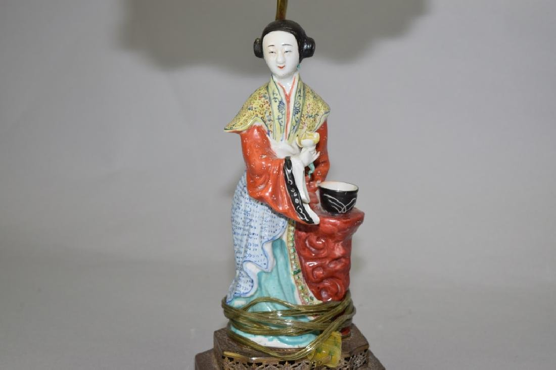 Republic Chinese Famille Rose Maiden Lamp