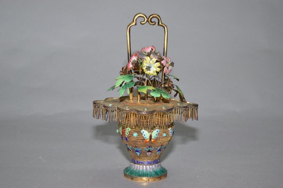 Chinese Enamel over Silver Flower Basket