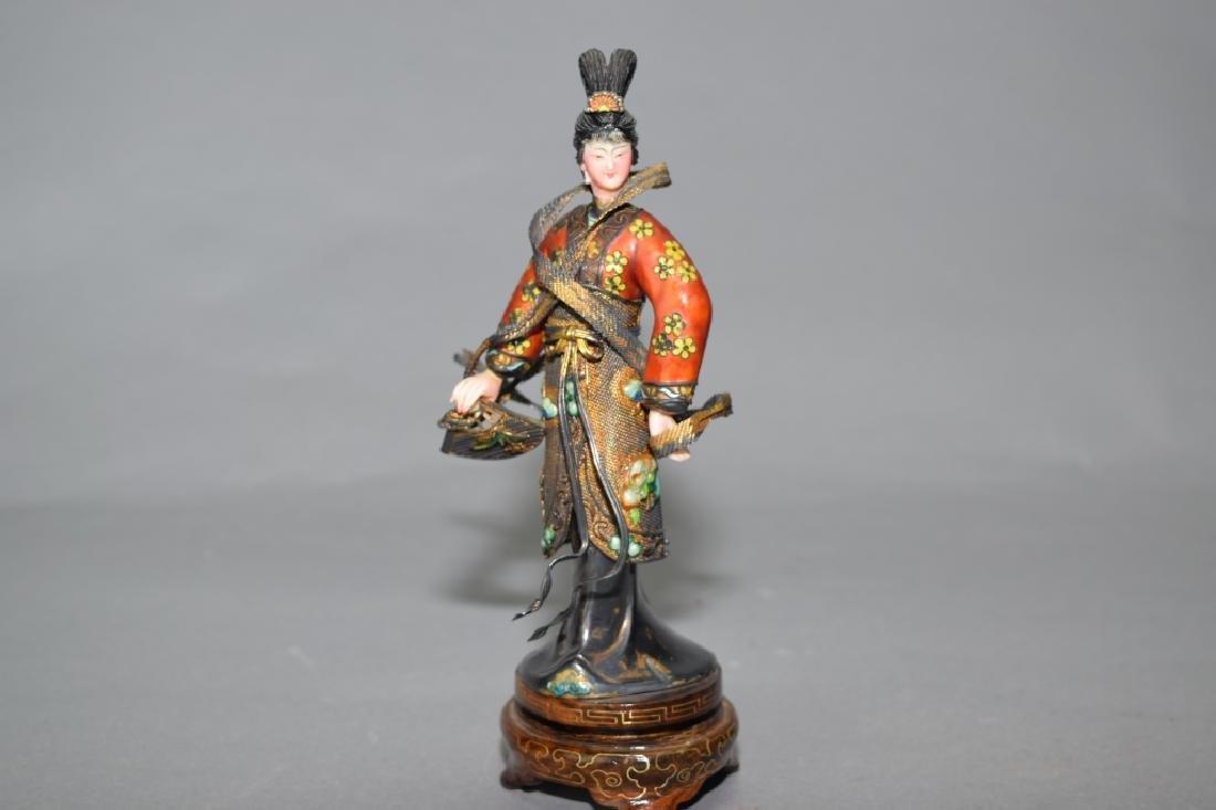 Chinese Enamel over Silver Liang Hong Yu Figure