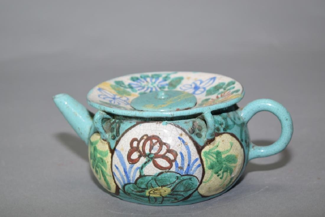 Chinese Enameled YiXing ZiSha Teapot