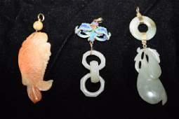 Three Qing Chinese Jade/Jadeite Carved Pendants
