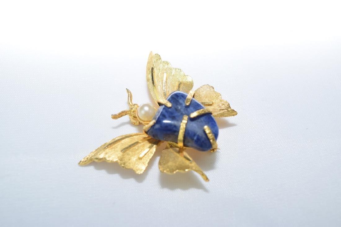 Lapis Lazuli Inlaid Butterfly Pin