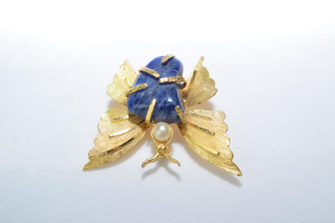 Lapis Lazuli Inlaid Butterfly Pin - 2