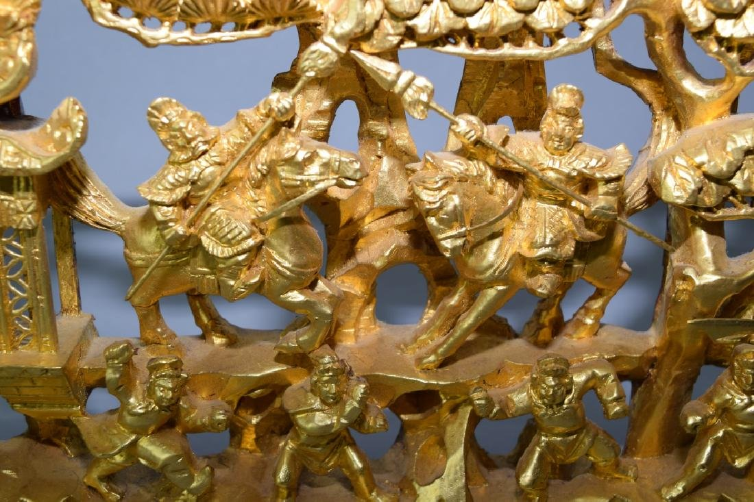 Chinese Gilt Wood Relief Carving - 2
