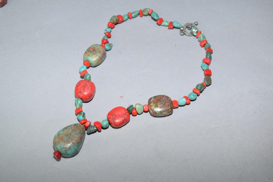 Turquoise and Coral Bead Necklace