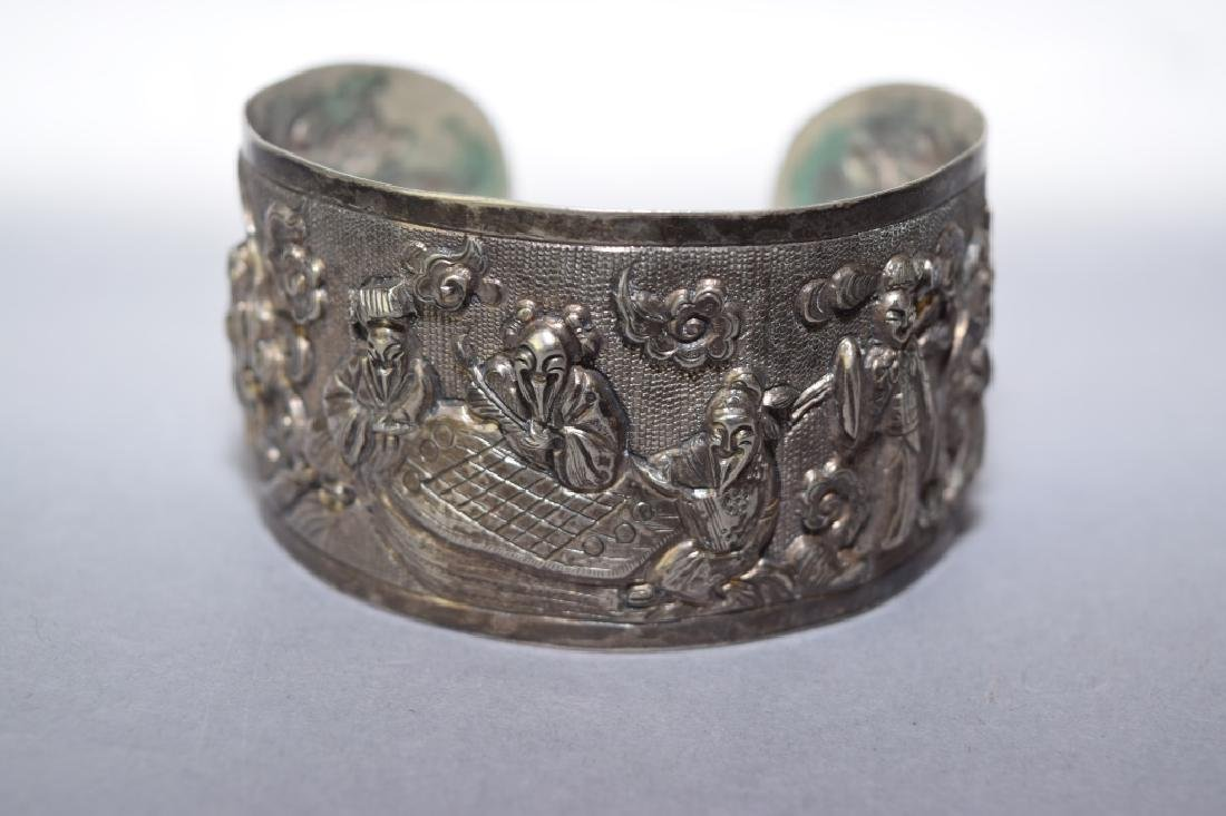 Qing Chinese Sterling Silver Cuff Bracelet