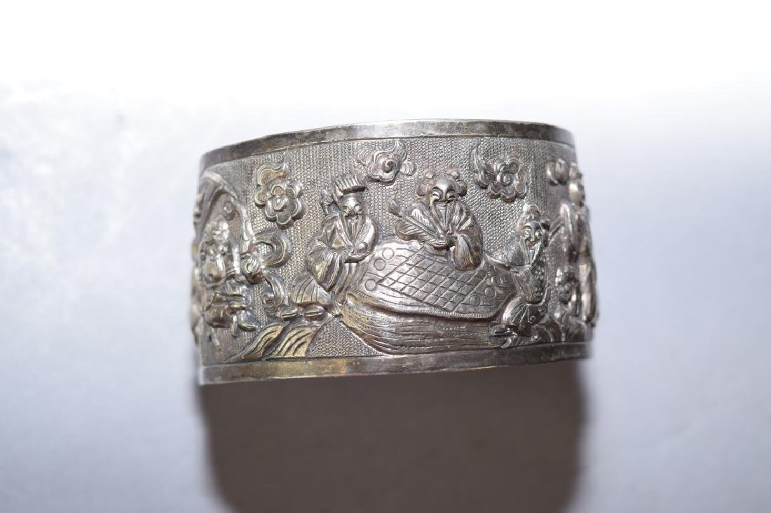 Qing Chinese Sterling Silver Cuff Bracelet - 2