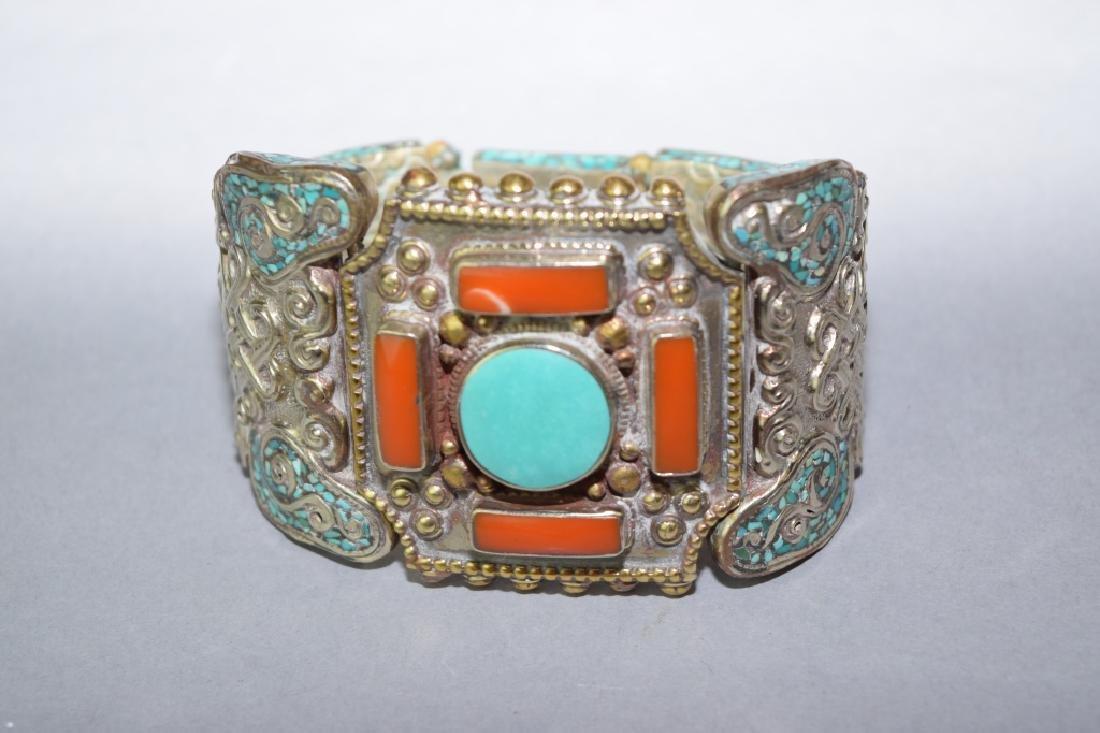 Tibetan Coral & Turquoise Inlaid Silver Bracelet