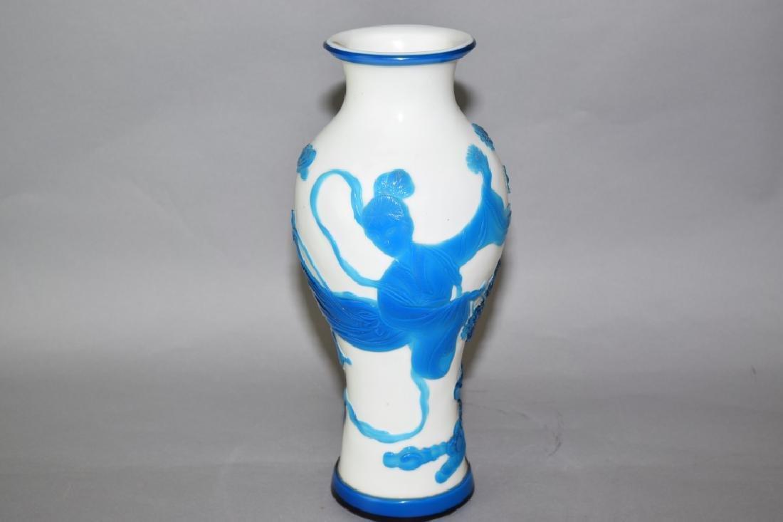 Chinese Blue and White Peking Glass Vase