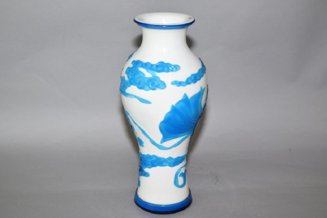 Chinese Blue and White Peking Glass Vase - 2