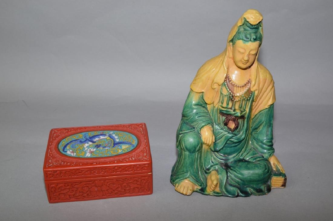Chinese Sancai Guanyin and Cinnabar Carved Box