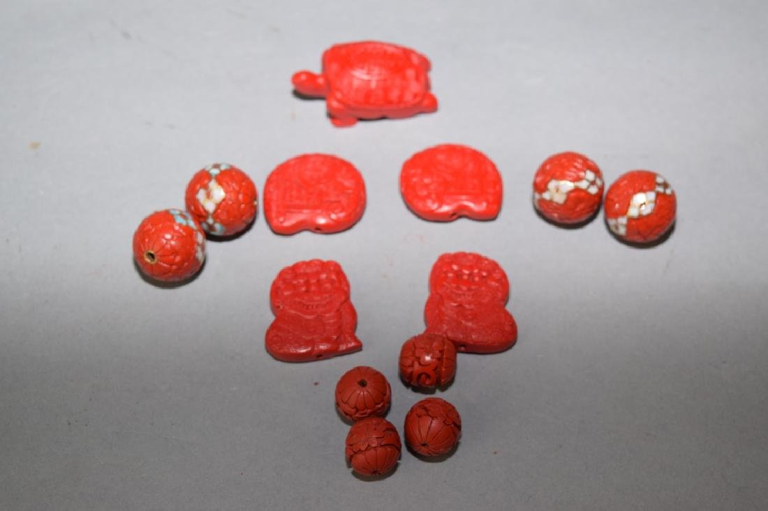 Group of Chinese Cinnabar Carved Jewelry Pieces