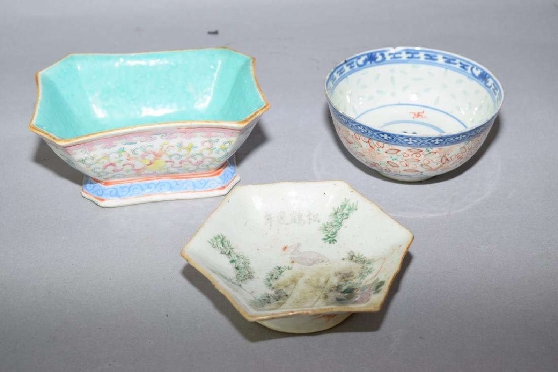 Three Chinese Famille Rose Bowls