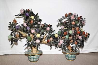 Pair of Large Chinese Peach Jade Trees