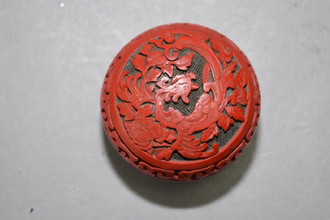 Chinese Cinnabar Carved Stamp Ink Box