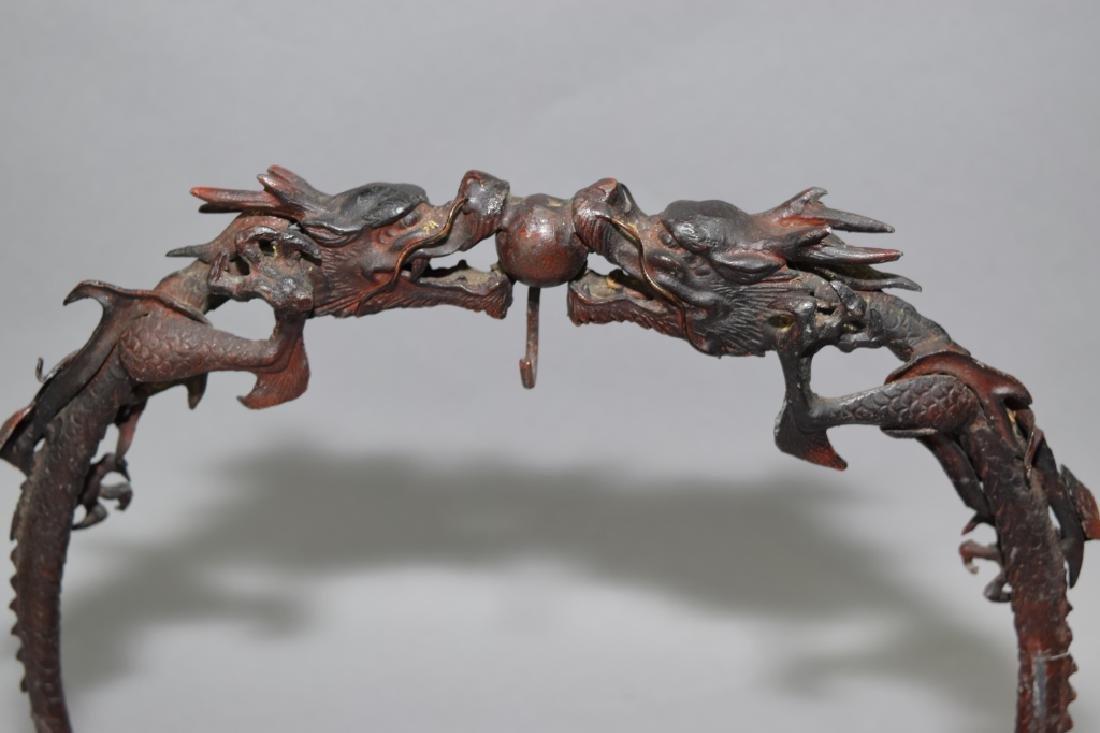 Japanese Bronze Dragon Brush Hanger - 2